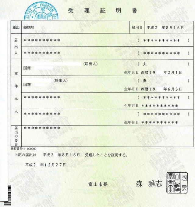 Свидетельство о браке в Японии