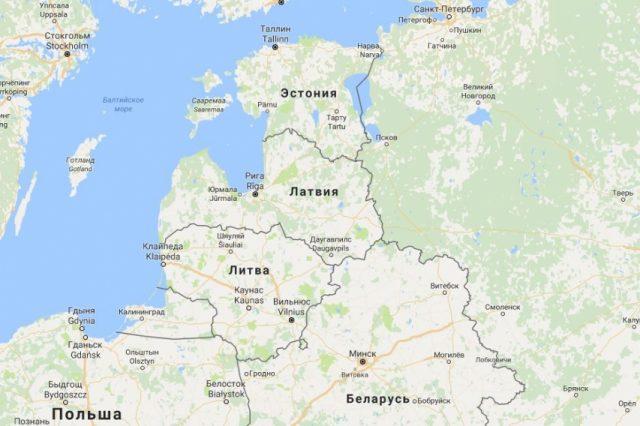 Эстония на карте Прибалтики