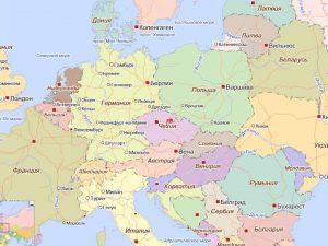 Чехия на карте Европы.