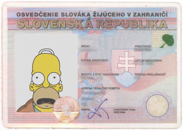 Образец удостоверения заграничного словака