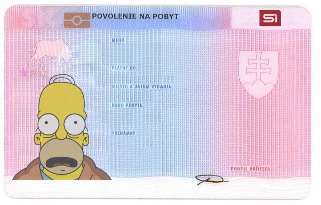 Образец карточки ВНЖ в Словакии