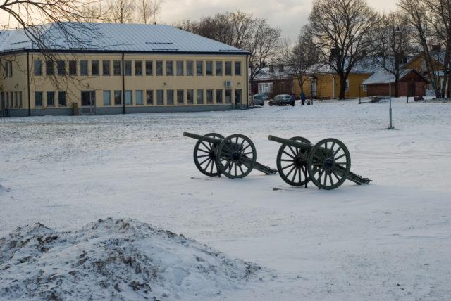 Пушки образца 1877 года на площади перед музеем Южной Карелии