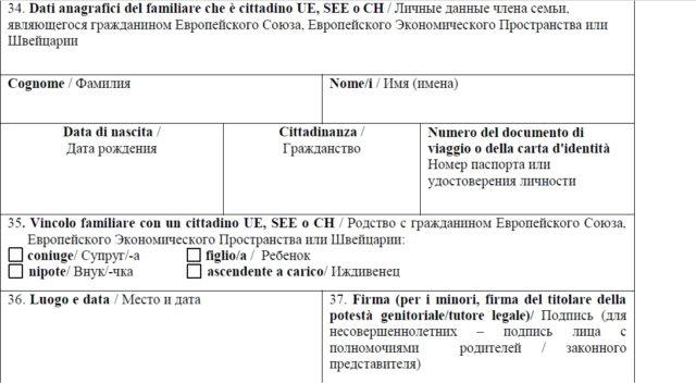 Образец заполнения анкеты на визу в Италию в 2017 году