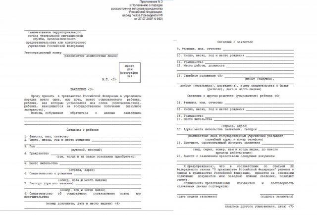 Образец заполнения заявления на гражданство РФ в 2018 году