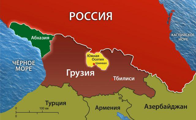 Грузия и соседние страны на карте